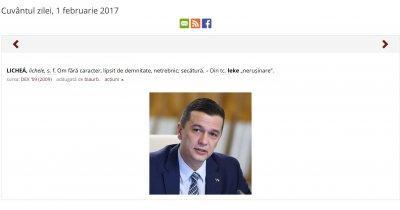 Mesaj dur al dexonline.ro la adresa prim-ministrului Sorin Grindeanu
