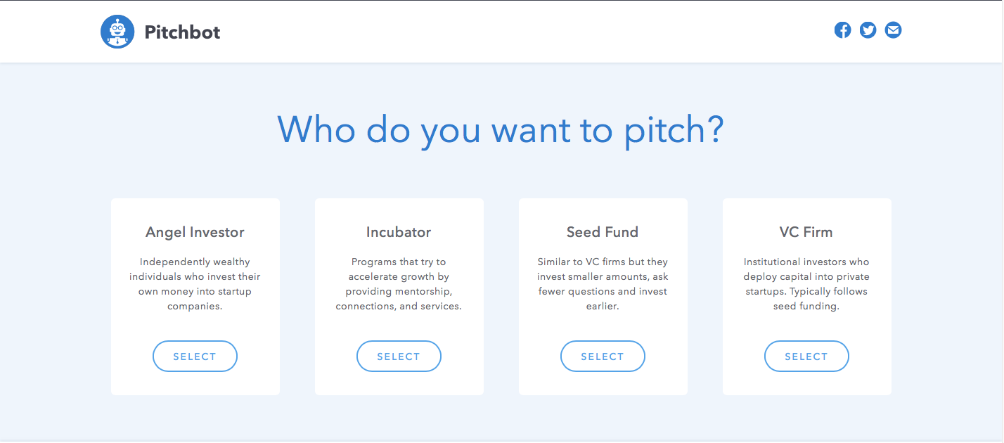pitch bot vc angel investor incbator seed round