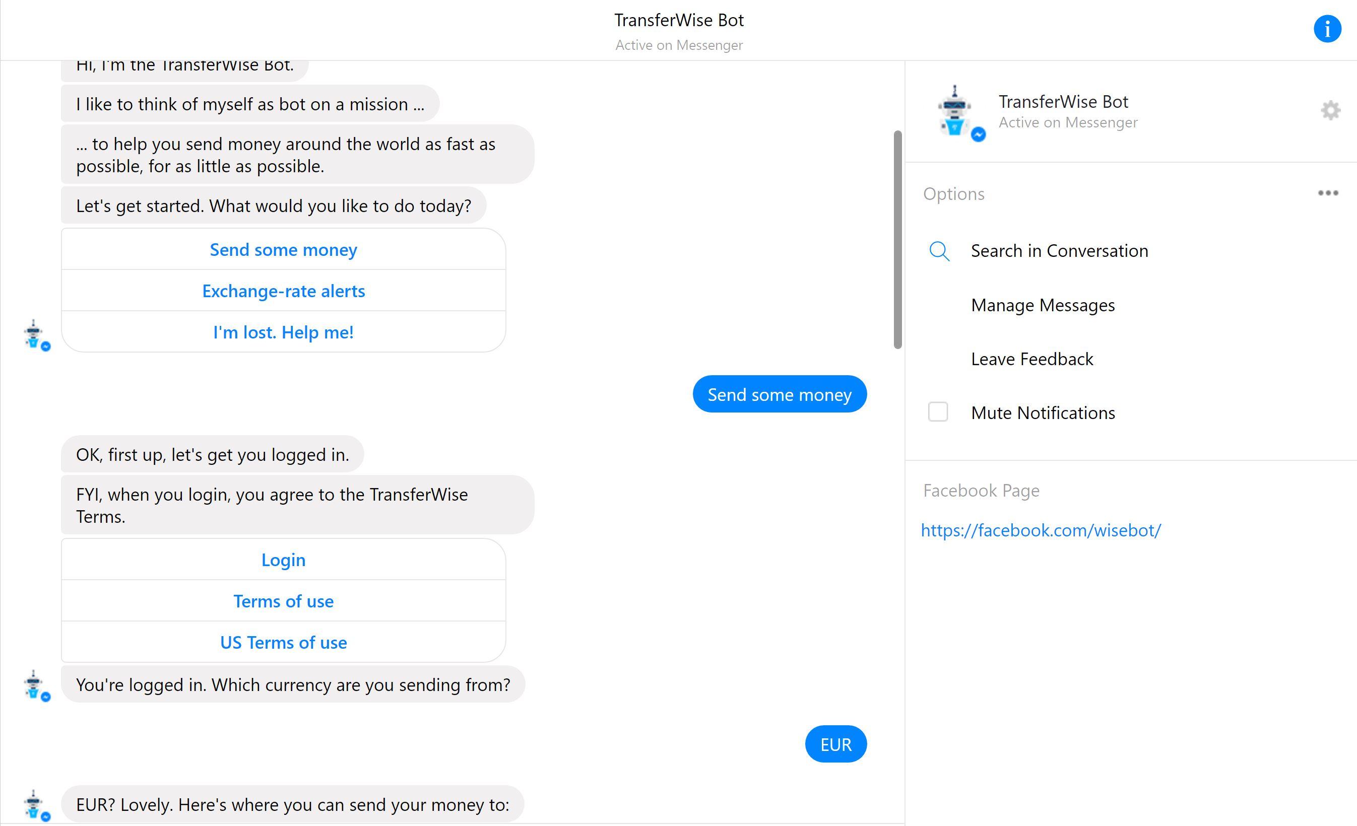 transferwise transfer de bani facebook messenger